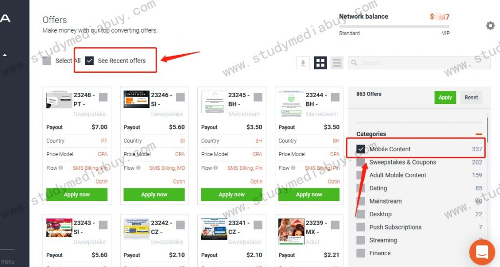 how to pick offer on mobidea