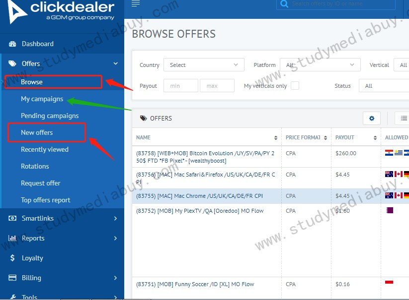 how to pick offer on clickdealer